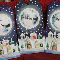 Christmas Santa Flying Over The Moon Village Large Tags - Set of 5