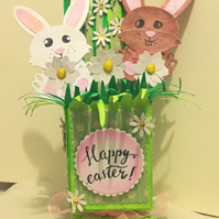 Handmade Luxury Pop-Up 3D Easter Bunnies Card with Envelope