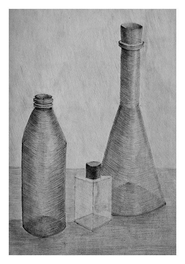 Bottles in Pencil Art Print A4 size