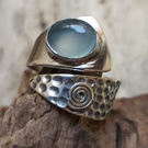 sterling silver 925 aqua chalcedony wide ring size O