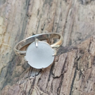 Sterling silver 925 white sea glass ring Size N