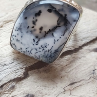 Sterling silver 925 dendritic agate chunky ring