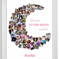 I Love you to the Moon and back, Picture collage, Personalised, A3, Print