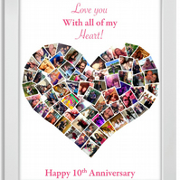 I Love you with all my Heart, Picture collage, Personalised, A3, Print