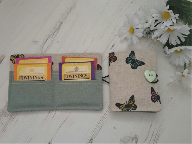Tea Bag Wallet Holder, butterflies, sage green