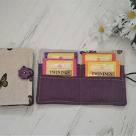 Tea Bag Wallet Holder, butterflies, plum purple