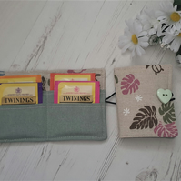 Tea Bag Wallet Holder, turtle ferns, sage green