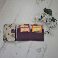 Tea Bag Wallet Holder, turtle ferns, plum purple