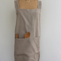 Linen Cross-back, pinafore Apron