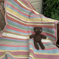 Beautiful crochet blanket - stroller or wheelchair sized