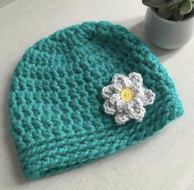 Crochet ladies flower beanie
