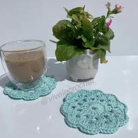 2 cotton hand crocheted coasters