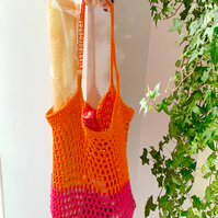 100% cotton crochet market bag.
