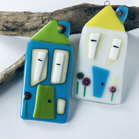 House ornament made from fused glass, new home gift