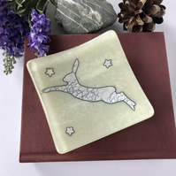 leaping hare decorative fused glass dish