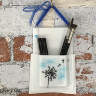 Fused glass wall hanging pencil and pen holder