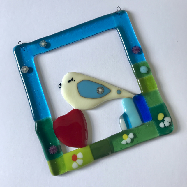Bird art, fused glass art, wall hanging