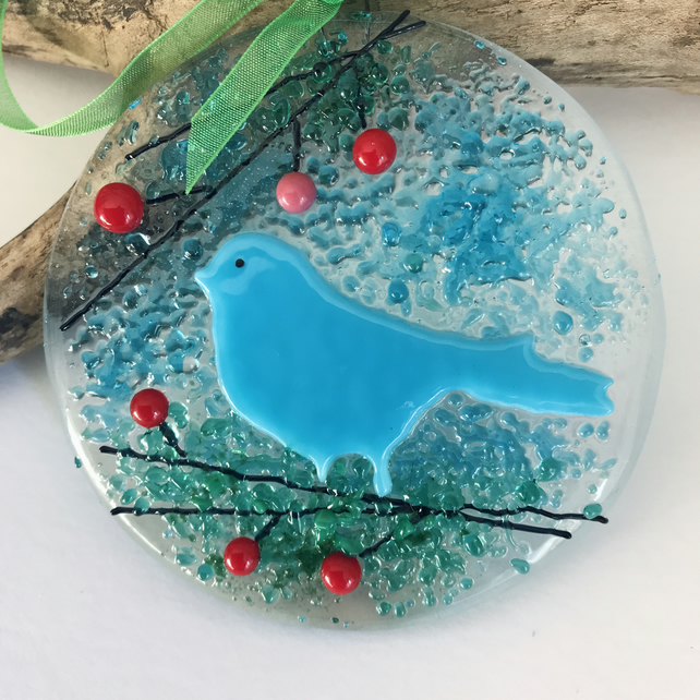 Fused glass bird suncatcher, housewarming gift, Mother's Day, blue
