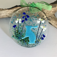 Fused glass hare suncatcher, nature lover gift, Mother's Day