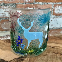 Stag fused glass art, glass decoration, Mother's Day, nature