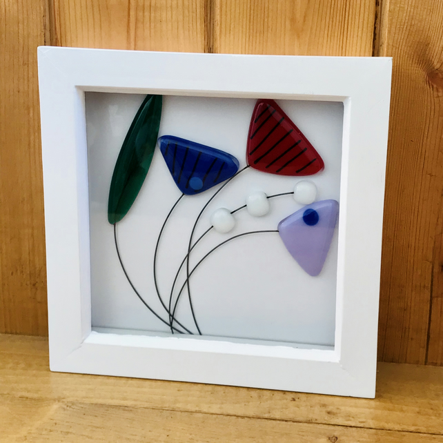 Wildflower fused glass art, flowers, mother's day gift, framed wall art