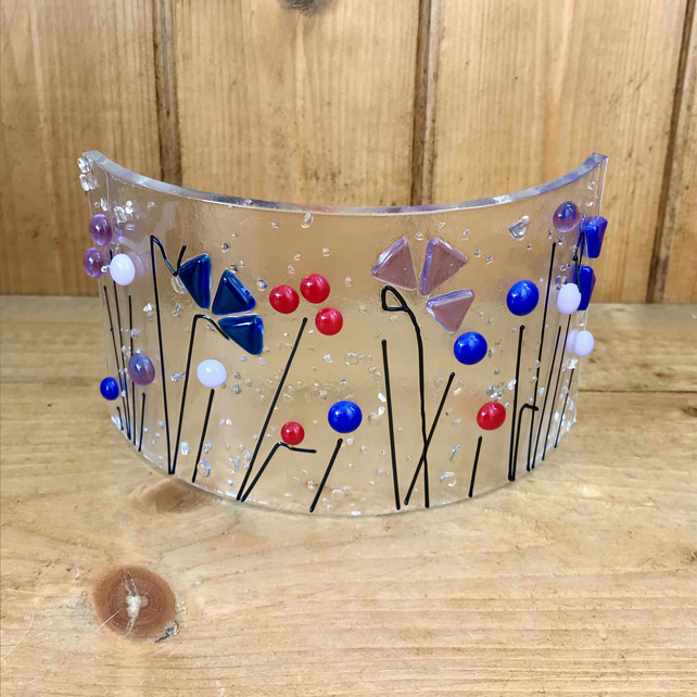 Wildflower fused glass decoration, Mother's Day, candle shield