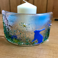 Hare and bee fused glass decoration, Mother's Day, candle shield
