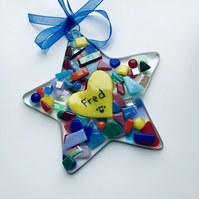 Fused glass pet memorial, star, personalised ornament
