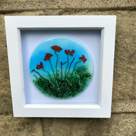 Poppy fused glass art, flowers, mother's day gift, framed wall art
