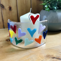 Heart fused glass candle surround, Mother's Day, heart