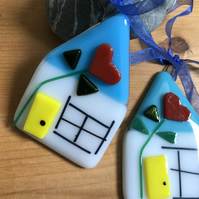 Fused glass house, suncatcher, wall hanging, House warming gift