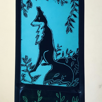 stained glass panel of a woodland fox