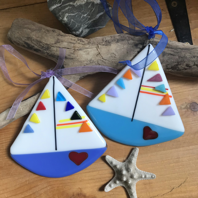 Fused glass boat hanging decoration