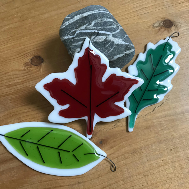 fused Glass leaves, set of three, oak, sycamore and beech