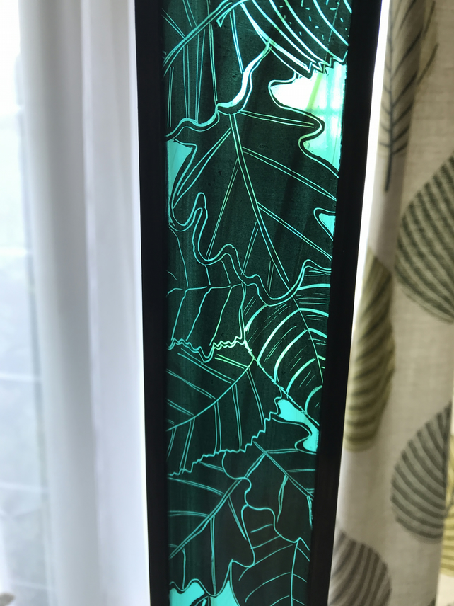 Falling leaves stained glass panel, green