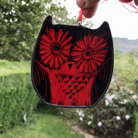 Owl stained glass suncatcher, red, wildlife art
