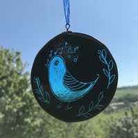 Bird stained glass suncatcher, blue bird, circle