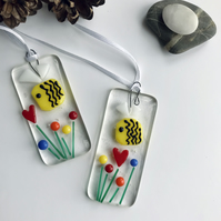 Small colourful fused glass bee sun catcher, flowers, bees