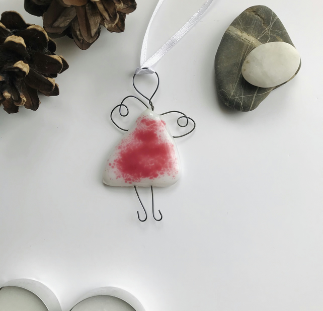 Pink fused glass fairy, angel, gift for friend