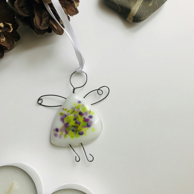 fused glass fairy, angel, gift for friend, green, purple