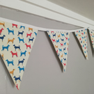Colourful dog print fabric bunting