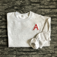 Varsity style Initial sweater in Grey Cherry