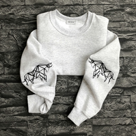 Origami Bull sleeved Sweat shirt
