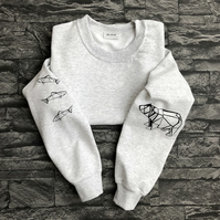 Origami Bear and Salmon sleeved sweatshirt