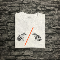 Colour stripe Leopard Vinyl T-shirt Unisex
