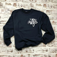 Navy Leopard head sweatshirt - Unisex style - freehand embroidered