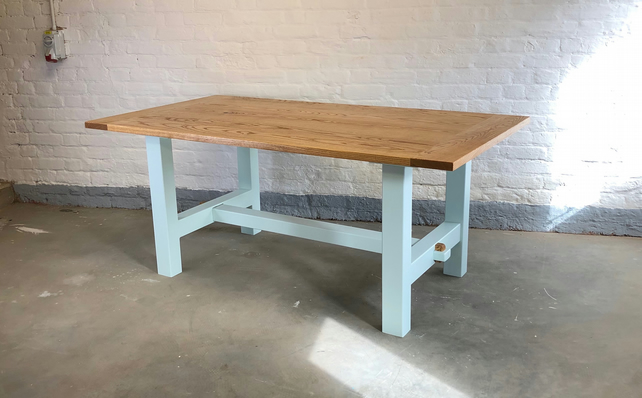Handmade H Frame Rustic Farmhouse Traditional Joinery Ash Dining Table