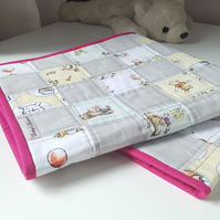 Winnie the Pooh, Patchwork, Baby Quilt, Quilted Infant Duvet, Disney