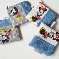 Minnie Mouse Coin Pouch, Mickey Mouse Coin Pouch, Disney small Zipper Wallet