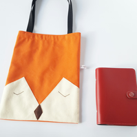 Mr Fox Canvas Tote Bag, Eco Friendly Fox Face Book Bag, Small tote Bag